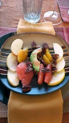 Wonderful fruit salad with pecans