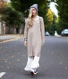 look long sweater dress street style