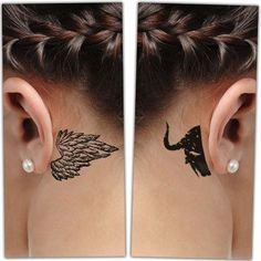 21 Behind-the-ear Tattoo Ideas Woman with Behind-the-ear Angel and Demon Tattoo Angel Demon Tattoo, Small Angel Tattoo, Devil Tattoo, Behind Ear Tattoo Small, Behind Ear Tattoos, Neue Tattoos, Body Art Tattoos, Small Tattoos, Good And Evil Tattoos