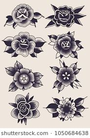Find Vector Black Flowers Traditional Tattoo Designs stock images in HD and millions of other royalty-free stock photos, illustrations and vectors in the Shutterstock collection. Thousands of new, high-quality pictures added every day. Traditional Heart Tattoos, Traditional Tattoo Drawings, Traditional Black Tattoo, Traditional Tattoo Flowers, Traditional Tattoo Design, Traditional Roses, Traditional Flash, Traditional Styles, American Traditional