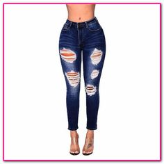 918c8278a9e2b0 hosen mit löchern frauen-Burvogue Frauen Stretch Ripped Distressed Skinny Jeans  Denim Hosen. Damen