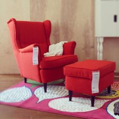 Strandmon chair from IKEA - love it in blue, but this red is amazing!
