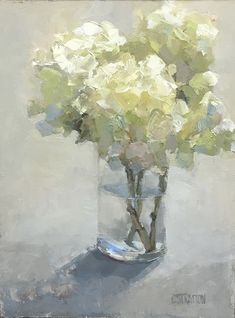 Bouquet in Vase by Clare Stratton, Oil, 12 x 9 Small Canvas Paintings, Modern Art Paintings, Paintings I Love, Floral Paintings, Indian Paintings, Landscape Paintings, Hydrangea Painting, Easy Flower Painting, Flower Art