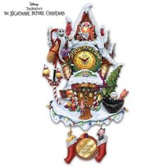 Fully sculpted cuckoo clock features classic movie characters in Christmas Town, LED lights, beloved movie music, Santa's elves and much more!