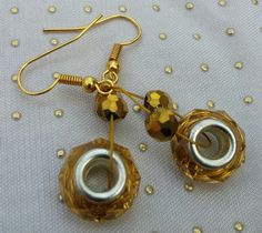 Hand Beaded Gold Earrings with Swarovski Crystal Element Beads, Gold Earrings by RivieBoutique on Etsy