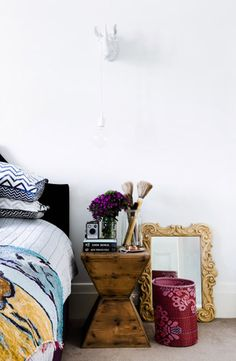 love the patterns + textures in this bedroom