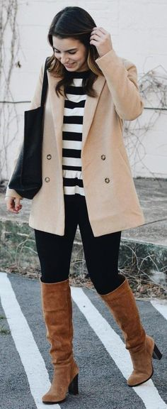 #winter #fashion /  Camel Coat + Striped Tee