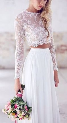 Are you a boho bride to-be? Try a long sleeved lace crop top on your wedding day for a unique, and sexy look.