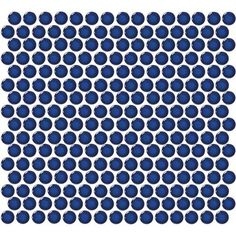 Retro Rounds Denim Blue Glazed Porcelain Mosaic Wall Tile.