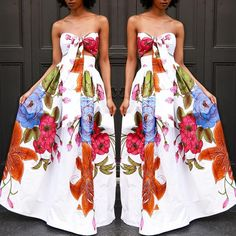 Strapless Dress Formal, Formal Dresses, White Patterns, Print Patterns, Stylish, Floral, Stuff To Buy, Color, Fashion