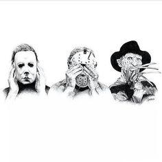 Horror: Hear, See, Say no Evil 😈 Horror Movie Tattoos, Horror Movie Characters, Halloween Tattoo, Halloween Horror, Halloween Art, Horror Artwork, Horror Icons, Scary Movies, Sketches