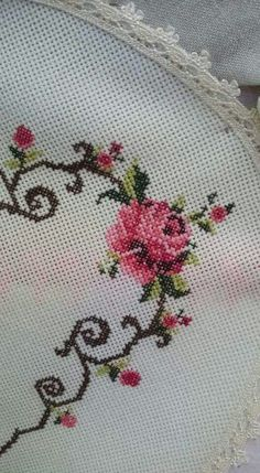 This Pin was discovered by Sev Cross Stitch Rose, Cross Stitch Flowers, Cross Stitch Designs, Cross Stitch Patterns, Baby Dress Patterns, Yarn Shop, Crewel Embroidery, Bargello, Easy Crochet Patterns