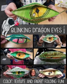 Couldn't be more fun than to fold your own dragon eye, and then play with having it open and close. Kids create implied texture with scales and learn about color and paper folding.