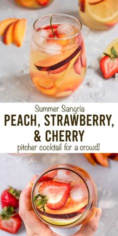 Fun Cocktails, Summer Drinks, Cocktail Drinks, Fun Drinks, Alcohol Drink Recipes, Sangria Recipes, Easy Summer Meals, Summer Recipes, Peach Sangria
