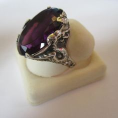 Amazing sterling silver and amethyst antique dragon ring!