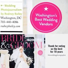 """rodneybaileyphotographer:  """"2016 """"Top Voted"""" #WeddingPhotographer Check out our blog at https://rodneybailey.com/best-wedding-photographer-washington-dc #dcweddings  Thank you to #Washingtonian Bride & Groom for naming Wedding Photojournalism by Rodney..."""