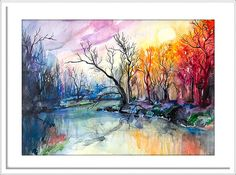 River landscape watercolor painting print nature art by SlaviART