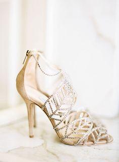 Jimmy Choo studded bridal shoes.