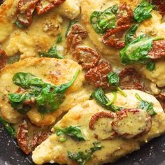 This Creamy Tuscan Parmesan Chicken is so sinfully delicious and savory and comes together in just 35 minutes. You'll feel like you were just transported to Italy in your own home after you take just one bite. Wine Recipes, Salad Recipes, Cooking Recipes, Skillet Recipes, Cooking Food, Tuscan Chicken, Healthy Chicken Recipes, No Cook Meals, Carne
