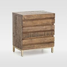 Our Reclaimed Wood & Iron Base Dresser is a rustic piece with a glam touch—its mixed-wood frame sits atop a glistening brass-finished iron base. Reclaimed Wood Bed Frame, Salvaged Wood, 3 Drawer Nightstand, Nightstands, Dressers, Oversized Furniture, Into The Woods, Rustic Furniture, Bedroom Furniture