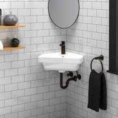Aurora Corner Vitreous China Wall-Mount Sink – Magnus Home Products Corner Sink Bathroom Small, Corner Pedestal Sink, Corner Basin, Corner Mirror, Small Bathroom With Shower, Bathroom Under Stairs, Wall Mounted Bathroom Sinks, Small Sink, Pedestal Sink Bathroom
