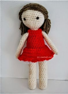 Little Crochet Red Dress Pattern for your Basic Amigurumi Doll (Free Pattern) | Free Crochet Patterns and Designs by LisaAuch
