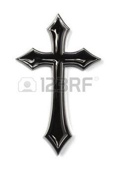 croix gothique: Gothic Black Cross métal isolé sur fond blanc. Banque d