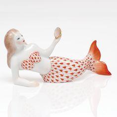 Herend Hand Painted Porcelain Mermaid Lying Down figurine, Rust Fishnet.
