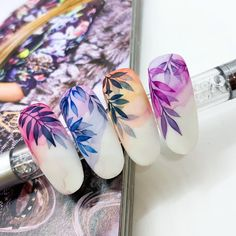 Disney Acrylic Nails, Acrylic Nails Coffin Glitter, Almond Acrylic Nails, Crazy Nail Art, Pretty Nail Art, Long Cute Nails, Feather Nails, Water Color Nails, Floral Nail Art