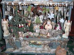 RARE Antique German Christmas Scene with Dresden Decorations