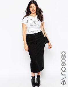 Immagine 1 di ASOS CURVE - Mom skirt di jeans nero slavato