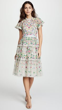 This gorgeous floral tier dress exhibit brilliant colours with beautiful embroidered flowers and sheer sleeves. Romantic and elegant outfit suitable for wedding function, special events and occasions. Great for all seasons. India Fashion, Royal Fashion, Boho Fashion, Boho Outfits, Pretty Outfits, Pretty Clothes, Daisy Dress, Boho Girl, Tiered Dress