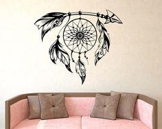 Única Boho Dreamcatcher pared calcomanía - gran sueño Catcher calcomanías Hippie bohemio pluma Dreamcatcher dormitorio dormitorio pared arte gitano Decor U004 por FabWallDecals