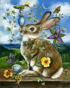 """""""Each leaf, each blade of grass vies for attention. Even weeds carry tiny blossoms to astonish us.""""- Marianne Poloskey  Artist~Janie Olsen -'Hare'"""