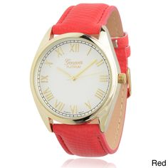 Flaunt fashionable style in this chic Geneva Platinum watch, complete with your choice of bold leather strap.