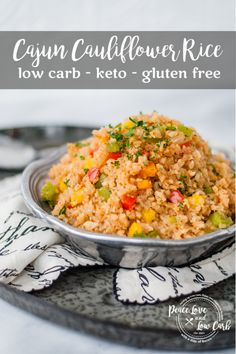 This cajun cauliflower rice has all the perfectly spicy flavors of a Louisiana style cajun rice recipe, but without all the extra carbs. Cajun Recipes, Rice Recipes, Low Carb Recipes, Real Food Recipes, Recipies, Low Carb Rice, Low Carb Keto, Low Carb Side Dishes, Side Dish Recipes