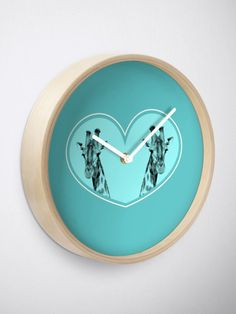 """Giraffes in a blue heart "" Clock by Mandsred1 | Redbubble"