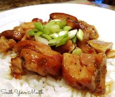 Honey Garlic Chicken {Crock Pot!} An Asian-inspired chicken dish similar to Bourbon Chicken with honey and garlic that cooks in the crock pot!