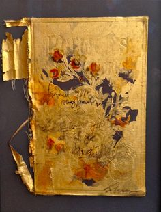 Francine Turk, Gilded Book IV, 14.5x11, mixed media on antique book cover  www.gallerykh.com