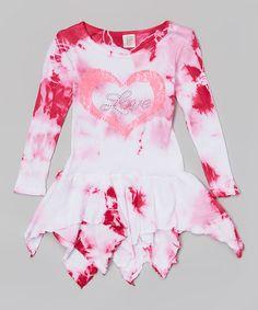 Another great find on #zulily! Pink & White 'Love' Tie-Dye Handkerchief Dress - Girls by One Love Kids #zulilyfinds