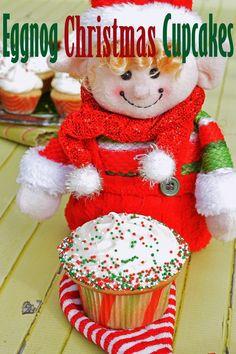 Eggnog Christmas Cupcakes with Eggnog Buttercream Best Gluten Free Cupcake Recipe, Gluten Free Cupcakes, Cupcake Recipes, Eggnog Cupcakes, Frozen Cupcakes, Baking Cupcakes, Christmas Cupcakes, Holiday Cookies, Holiday Treats