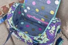 Sew Sweetness Tortoise Bag sewing pattern, inside. Opens wide to hold lots!