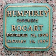 "Humphrey  Bogart (1899 - 1957)Movie icon, starred in ""Casablanca"", ""To Have and Have Not"", ""The African Queen"" and many other movies"