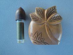 Vintage Hawaiian Carved Monkey Pod Wood Palm Pikake Perfume Bottle | eBay