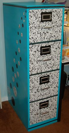 Makeover of old file cabinet. Spray paint, contact paper & Washi tape