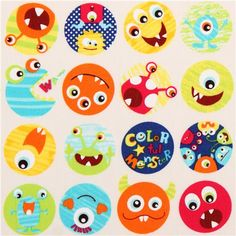 white monster colorful balls cotton fabric  1