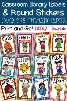 These Classroom Library Labels are perfect for organizing your Kindergarten, First Grade, Second Grade, or Upper Elementary classroom library. Use with your own Book Bins and Baskets. Matching Round Sticker labels are included for your individual books. E