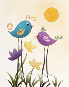 Whimsical Bird Art Childrens Art Print di NaturesHeavenlyArt, $16,00