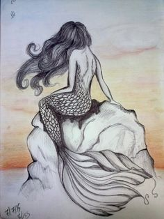 - Mermaid on boulder in black and white sketch. Boredom Informations About Pin You can ea - Mermaid Sketch, Mermaid Drawings, Mermaid Tattoos, Mermaid Art, Fairy Sketch, Black And White Art Drawing, Black And White Sketches, Pencil Art Drawings, Drawing Sketches