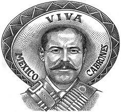 Pancho Head - Currency Illustration for Imaginary Money Arte Cholo, Cholo Art, Chicano Art Tattoos, Chicano Drawings, Pancho Villa, Mexican Heroes, Mexican Pictures, Aztec Drawing, Mexican Art Tattoos